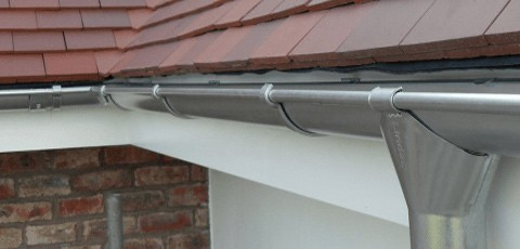 Colorbond Guttering. A steel gutter and downpipe often costs less than the price of aluminium gutters